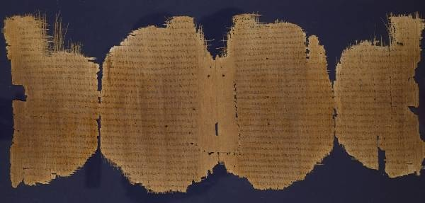 Photo of Greek papyrus containing portions of the book of Luke